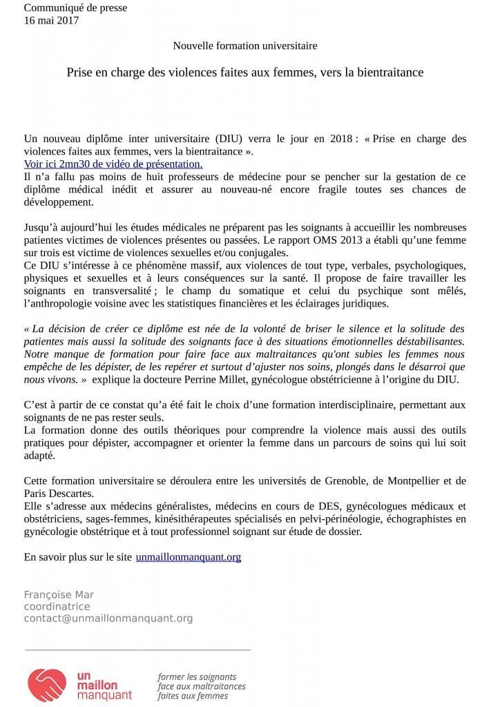 Communiqué de presse - DIU - Prise en charge des violences faites aux femmes vers la bientraitance