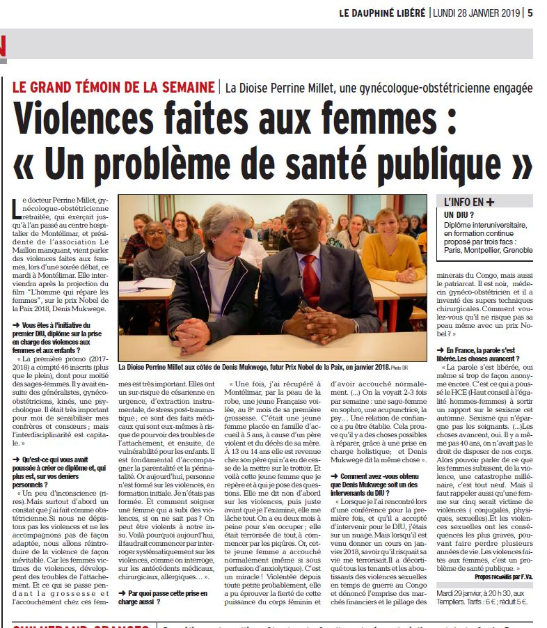 Interview journal le Dauphiné en janvier 2019